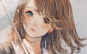Picture girl, umbrella, tears