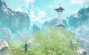 Picture mountains, hill, fantasy, houses