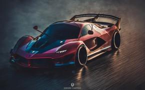 Picture rendering, Ferrari, art, FXXK, 2019, by Shinigami's Nightmare