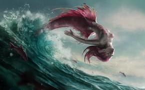 Picture wave, fish, squirt, jump, mermaid, scales, tail, fins, sea foam, pink hair, mermaid