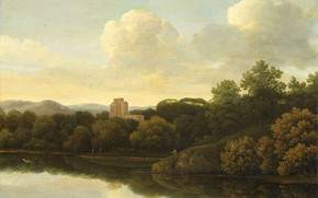 Picture oil, picture, Forest Landscape with River, 1680, Johan Lagoor, Johan Lager