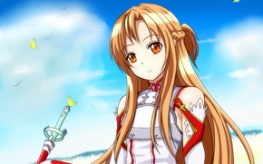 Picture look, Girl, anime, art, Background, Sword art online, Sword Art Online, Asuna