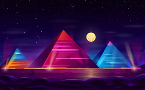 Picture Color, Night, Stars, The moon, Neon, Pyramid, Pyramid, Moon, Stars, Color, Night, Egypt, Neon, Surreal, …