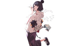 Picture white, girl, background, Foreigner, Katsushika Hokusai