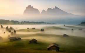Picture field, fog, morning, village, Alps, houses
