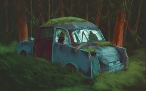 Picture figure, брошенная машина, машина в лесу, лес ночь