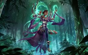 Picture forest, girl, magic, Karma, Legends of Runeterra