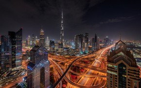 Picture night, the city, road, lighting, Dubai