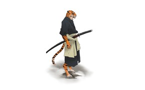 Picture Fantasy, Art, Tiger, Style, Background, Minimalism, Katana, Character, Mr. Samurai, Pablo Ilyich