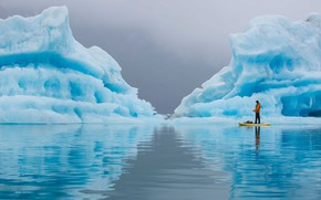 Picture reflection, ice, Alaska, icebergs, Paddling Tranquility