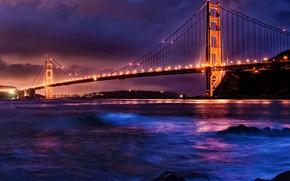 Picture landscape, mountains, night, bridge, Strait, lighting, CA, San Francisco, Golden gate, USA, Golden Gate Bridge, …