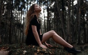 Picture forest, girl, dress, legs, Juliana Naidenova, Ksenia Chapkhaeva