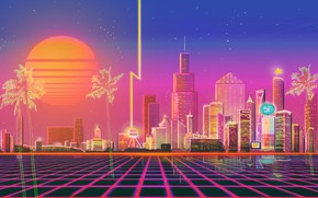 Picture The sun, Music, The city, Style, Background, City, 80s, Style, Neon, Illustration, 80's, Synth, Retrowave, …