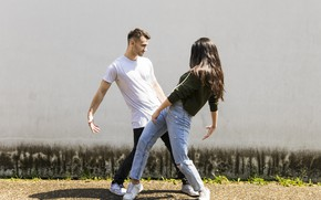Picture look, girl, the sun, pose, dance, jeans, guy