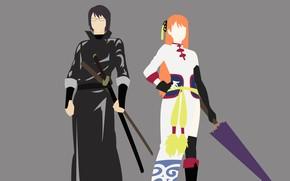 Picture girl, minimalism, guy, Gintama, Gintama