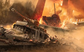 Picture fire, war, explosions, tanks, World Of Tanks
