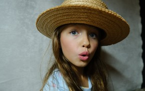Picture hat, surprise, girl, face