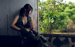 Picture girl, ambush, sniper rifle