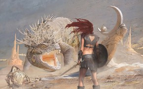 Picture girl, weapons, hair, Dragon, battle, mouth