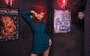 Picture girl, pose, dress, red, redhead, posters, Oleg Demyanchenko, Natasha Korotovskih