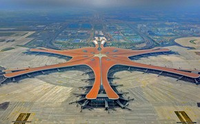 Picture panorama, China, Downtown Dubai are the Beijing Daxing airport