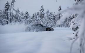 Picture snow, grey, movement, Porsche, side, 2020, Taycan, Taycan 4S
