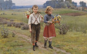 Picture French painter, 1895, French painter, Caesar Pattan, Cesar Pattein, The kids are coming home, Children …