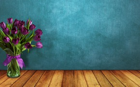 Picture flowers, bouquet, tape, tulips, vase, wood