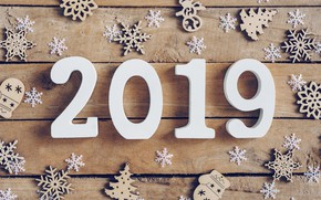 Picture winter, snowflakes, tree, Board, New Year, new year, wood, winter, background, snowflakes, decoration, 2019