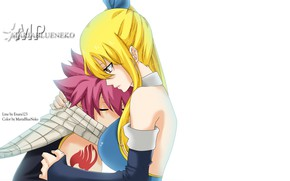Picture anime, art, hug, Fairy Tail, Natsu, Lucy, Natsu Dragneel, Lucy Heartfilia, Fairy tail