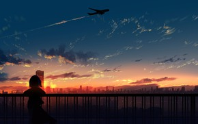 Picture the sky, sunset, the city, the plane, girl