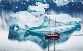 Picture sea, ship, sailboat, ice, icebergs, Greenland