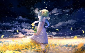 Picture girl, looking up, flower field, green hair, the sky in the clouds, a bunch, white …