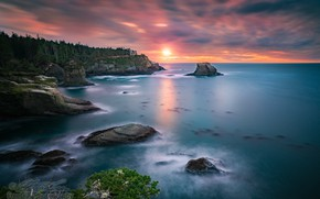 Picture sea, forest, the sky, sunset, rocks, William Freebilly