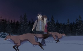 Picture forest, night, children, foxes