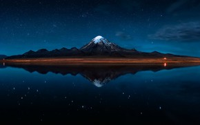 Picture night, nature, stars, Bolivia, The Reflection of the Sajama