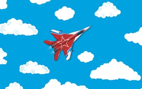 Wallpaper Clouds, Minimalism, The plane, Fighter, Russia, Art, The view from the top, The MiG-29, MiG ...