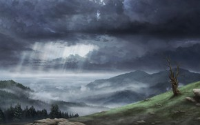 Picture Clouds, Mountains, Forest, Clouds, Rays, Hills, Landscape, Clouds, Art, Art, Landscape, Mountains, Forest, Hills, Rays, …