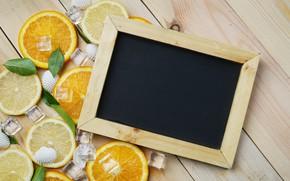 Picture lemon, orange, ice, frame, lemon, ice, summer, fruit, wood, fruit, orange, citrus, hello, slice
