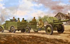 Picture Artillery, Howitzer, The Red Army, APC, 122 mm, M-30, М3А1