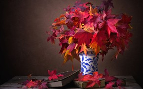 Picture leaves, style, retro, the dark background, table, books, old, bouquet, red, wooden, vase, still life, …
