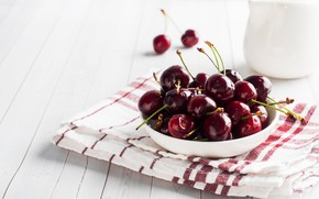 Picture cherry, plate, juicy