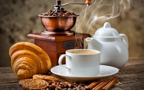 Picture coffee, cookies, Cup, saucer, croissant, korkmak