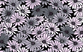 Picture flowers, grey, background, pink, Background, Pattern, Floral