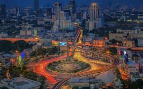 Picture road, night, the city, Thailand, bright, Bangkok, Thailand, Bangkok