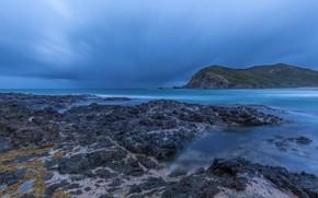 Picture sea, the sky, clouds, blue, stones, rocks, coast, New Zealand, horizon, Tapotupotu Bay