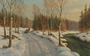 Wallpaper 1919, Peder Mørk Mønsted, Peter Merk Of Menstad, Sleigh ride on a Sunny winter day, ...