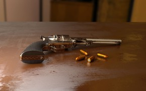 Picture rendering, gun, weapons, table, cartridges, computer graphics