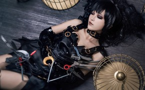Picture look, girl, face, pose, style, weapons, background, black, sleep, blade, cell, leather, makeup, brunette, hairstyle, …