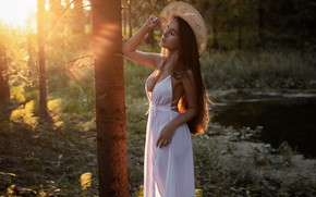 Picture forest, girl, the sun, pose, river, hair, hat, figure, dress, beautiful, Hope Zvezdochkina, Andrey Frolov